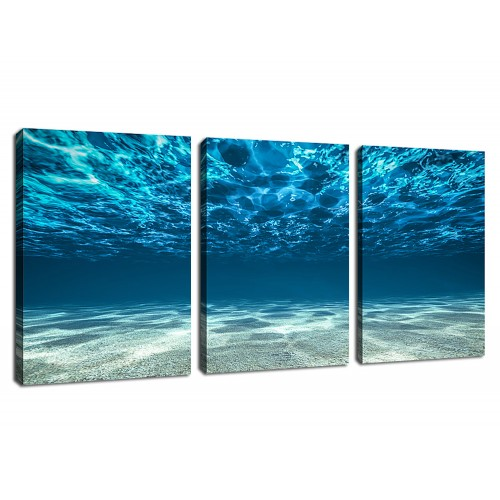 Canvas Art Sea Wave Blue Seascape Painting Prints 3 Pieces Wall Decor Framed Ready To Hang